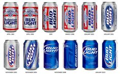 Evolution of Bud Light can design since 1981