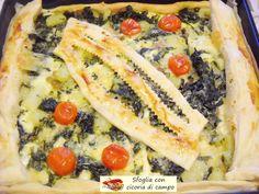 Sfoglia con cicoria di campo. Ottima torta salata, così colorata e piena di gusto da essere servita anche come piatto unico. Veramente sfiziosa e buona!
