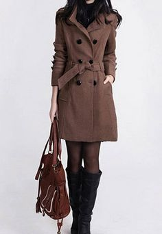 Classy Gorgeous Double Breast Solid Color Tweed Coat