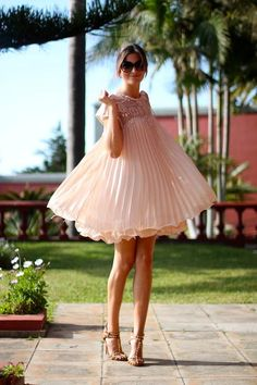 Lovely pale pink dress with brown studded heels, love the juxtaposition :-)