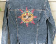 9102080e2d4 Upcycled Hand Painted Denim Jacket