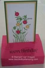 my version of a pop up card...Color Coach is awesome! Melon Mambo, Gumball Green, So Saffron with Just Believe set.