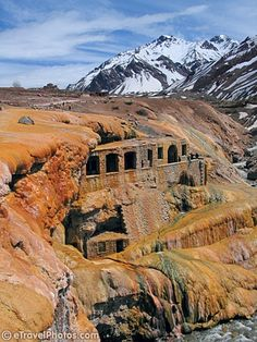Puente del Inca. Ancient ruins near Mendoza, Argentina. Also sulfate waters around it made of sedimented volcanic lava