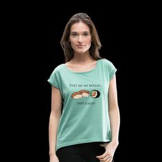 Funny Sushi T-Shirt Design, Spreadshirt T Shirt Designs, Sushi Design, Funny Prints, Funny Tshirts, V Neck, T Shirts For Women, Clothes, Tops, Fashion