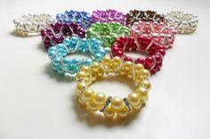 pulseras en perlas colores varios separadores en strass media luna diseños de COLOR BEADS