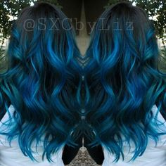 Blue hair ombre Balayage highlights long hair Blue hair shadow Sweeping highlights long hair Blue hair shadow SweepingSimple sweep Sweep And Shadow Sea Ombré Hair, Dye My Hair, Hair Dos, Balayage Ombré, Balayage Highlights, Blue Hair Balayage, Blue Hair Streaks, Blue Hair Highlights, Hair Shadow