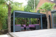 Outdoor Living Pod, Louvered Roof Patio Canopy Installation in Reading.: modern Garden by Caribbean Blinds Window Canopy, Backyard Canopy, Canopy Bedroom, Pergola Canopy, Tree Canopy, Canopy Outdoor, Canopy Tent, Outdoor Rooms, Outdoor Life