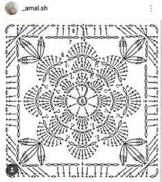IG ~ @_amal.sh ~ crochet flower motif pattern diagram
