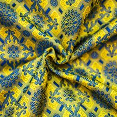 Hand-Woven, Yellow and Blue Indian Silk Brocade from L2L - would LOVE to make a shirt dress out of this for fall!!