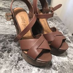 597928a5351 Cathy Jean Brown Wedges  fashion  clothing  shoes  accessories  womensshoes   heels (ebay link)