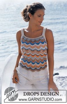 Free knitting patterns and crochet patterns by DROPS Design Drops Design, Knitting Patterns Free, Free Knitting, Free Pattern, Crochet Patterns, Crochet Top Outfit, Crochet Clothes, Crochet Tank, Crochet Blouse