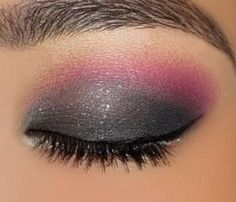 Gray and pink eye shadow