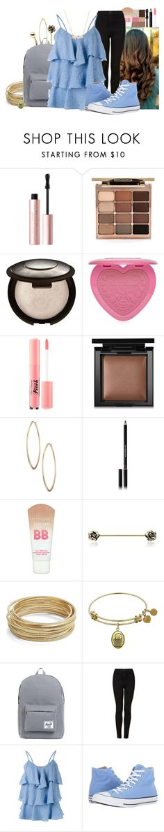 """""""LRS"""" by cheyleexox ❤ liked on Polyvore featuring Too Faced Cosmetics, Stila, Becca, Bare Escentuals, Lydell NYC, Givenchy, Maybelline, Design Lab, Herschel Supply Co. and Topshop"""