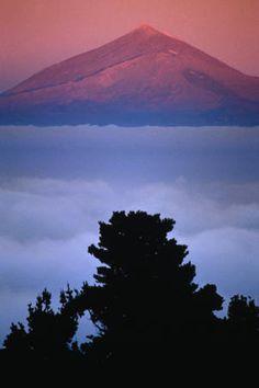 Sunset view of Pico del Teide, Tenerife from Alto de Garajonay on La Gomera~ Tenerife,Canary Islands