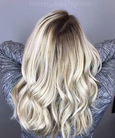 Shadow root and icy blonde by @AlexNLiggett