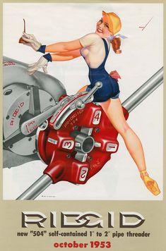 Petty Girls Nei primi anni '50 George Petty, uno dei più grandi artisti di Pin-up del mondo di tutti i tempi, ha disegnato e aerografato le ragazze Pin-up dal calendario RIDGID