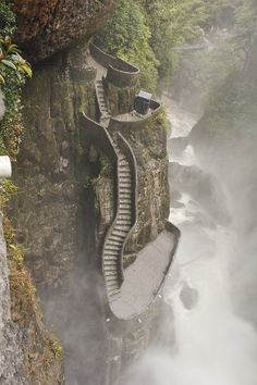 "Mountain side waterfall Staircase at Pailón del Diablo waterfall in Cuenca, Ecuador The name of the waterfall in Spanish, Paílón del Diablo, means in English ""Cauldron of the Devil""."