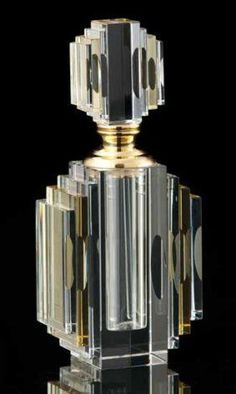 Fine Crystal Art Deco Perfume Bottle