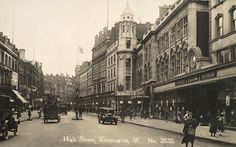 Derry & Toms & Pontings, two of the century department stores in Kensington High Street, photographed in Derry & Toms and rival Barkers both moved into purpose-built Art Deco buildings in the one is now home to the flagship Whole Foods store. London Pictures, London Photos, Old Pictures, Old Photos, Vintage London, Old London, West London, Kensington London, Chelsea London