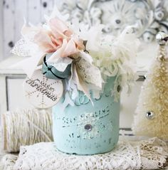 Painted Mason Jar with scrap bow and embellishments