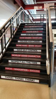 School empowerment quotes and decals on stairs. School Hallways, School Murals, School Classroom, I School, School Ideas, School Hallway Decorations, School Signage, Design Thinking, Office Wall Design