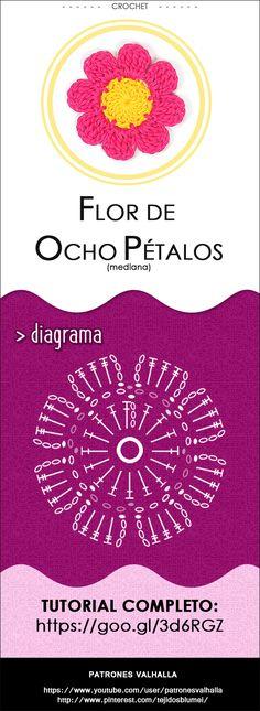 #Flor de Ocho Pétalos a #Crochet 1 (mediana) | #PatronesValhalla