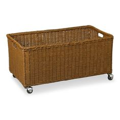 Rattan Recycle Bin on Wheels #williamssonoma