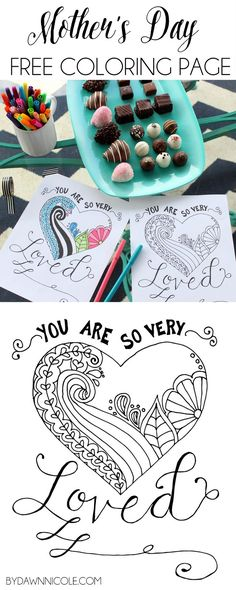 Free Print Of The Week Mothers Day Hand Lettered Illustrated Coloring Page