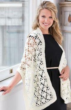 Best Free Crochet » Free Crochet Lacy Wrap Pattern from RedHeart.com #235
