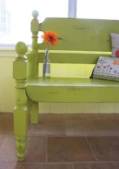 make a bench from a bed frame