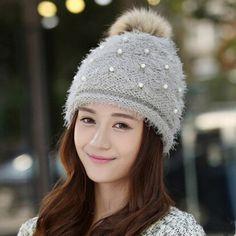 Pearl rabbit fur knit hat for women hairball winter beanie hat fleece