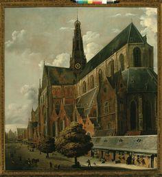 Cornelis Gerritsz Decker, De Grote of St. Bavokerk gezien van de Groenmarkt, 1658 Haarlem