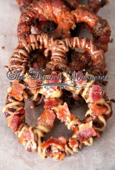 The Kitchen Whisperer Sweet 'n Heat Bacon Wrapped Peanut Butter Chocolate Pretzels with Bacon Crunchies