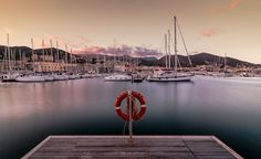Sunset in the marina of Varazze by Marcello alessandro
