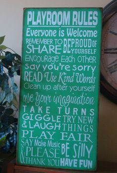 LARGE Playroom Rules Subway/Typography Word Art Sign by kshopa, $88.00