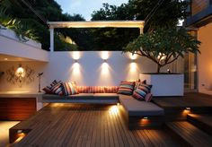 Bankirai-Terrasse Design-Ideen-Beleuchtung Lounge-Möbel