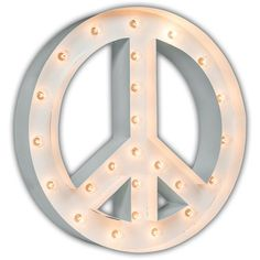 """Peace Sign - 24"""" GLOSSY WHITE Vintage Marquee Lights ($219) ❤ liked on Polyvore featuring home, lighting, vintage peace sign, vintage marquee light, vintage lighting, indoor outdoor lights and wire lights"""