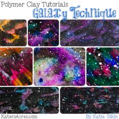 Polymer Clay GALAXY Technique Tutorial by KatersAcres | CLICK to learn to make your own realistic galaxy veneers using 3 NEW products with polymer clay