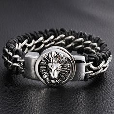 Unisex Mens Genuine Leather Braided Wristband Bracelet Stainless Steel Lion Clasp New