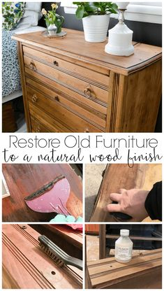 furniture muebles Would you believe someone was throwing this antique dresser away I couldnt let that happen! these steps to remove old finish and paint and restore the original, natural wood finish on furniture. Painting Wooden Furniture, Refurbished Furniture, Repurposed Furniture, Rustic Furniture, Home Furniture, Modern Furniture, Natural Wood Furniture, Furniture Design, Cheap Furniture