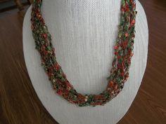 Crochet Ladder Lace Necklace Trellis Ribbon Lace Fiber Yarn Green Orange Lace Gold Metallic by DelsYarnBasket on Etsy