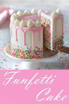 A moist vanilla cake filled with sprinkles, coated in silky Italian buttercream . - A moist vanilla cake filled with sprinkles, coated in silky Italian buttercream and topped with a wh - Funfetti Kuchen, Funfetti Cake, Italian Buttercream, Vanilla Buttercream, Vanilla Ganache, Crusting Buttercream, Ganache Recipe, Moist Vanilla Cake, Strawberry Vanilla Cake
