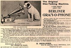This October 1900 advertisement for the Gramophone emphasizes how 52 discs can be stored in the space of 8 cylinders. The Gramophone Company also registered the Nipper trademark in 1900, which features the dog peering into the horn of a gramophone. Interestingly enough, the original painting had a cylinder phonograph, but Francis Barraud redid the painting upon selling it to the Gramophone Company.