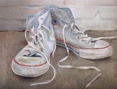 Converse oil paint via /r/Art. White Converse, White Sneakers, High Top Sneakers, Digital Art Fantasy, Tim Beta, Shoe Art, Famous Artists, Designer Shoes, Combat Boots