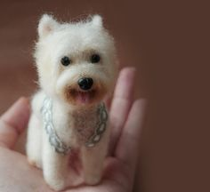 Love the Furkids of Westie needle felted Dog with by dollmofee, $138.00