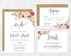 Floral Wedding Invitation, Printable Wedding Invitation, Rustic Wedding Invite, Boho Wedding Invite, Peonies Wedding Invite, Shelby