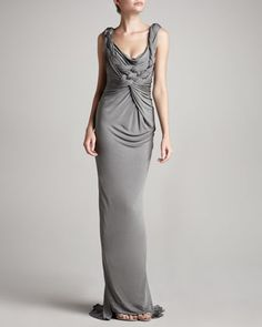Braided-Front Gown by Donna Karan at Neiman Marcus. M of the B dress