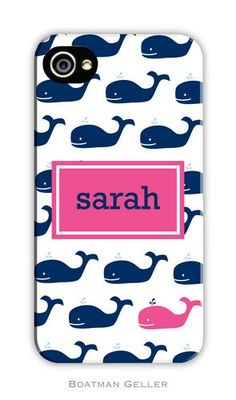 Whale Repeat Navy Boatman Geller Monogrammed Cell Phone and iPhone Case on Sale