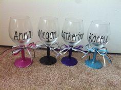DIY glitter wine glasses for my friends 21st