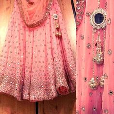 Pink mirror work lehenga Fabric:Pure Bangalori silk pink Lehenga-choli with real mirror work, Semistitched.  Color: Delicate Pink.  Size: Maximum 2XL. Price: 2300